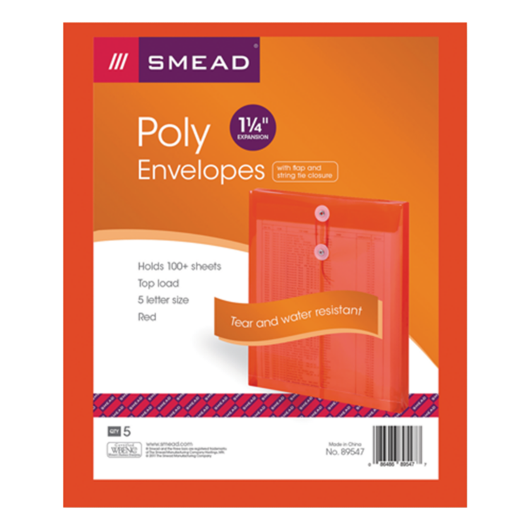 9 3/4 x 11 5/8 Poly Button & String Open End Envelopes Red