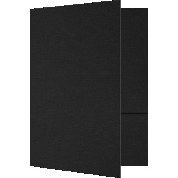 6 x 9 Small Presentation Folders - Two Pockets Black Linen