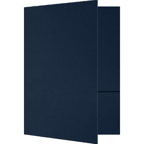 6 x 9 Small Presentation Folders - Two Pockets Nautical Blue Linen
