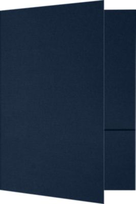 6 x 9 Small Presentation Folders - Two Pockets Nautical Blue Linen