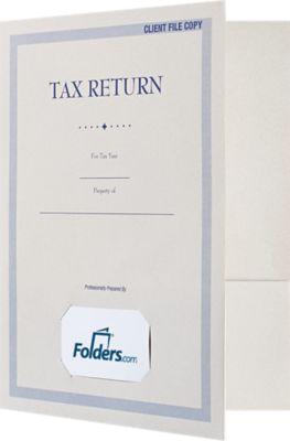 9 x 12 Presentation Folders - Standard Two Pocket w/ Front Card Slit Natural
