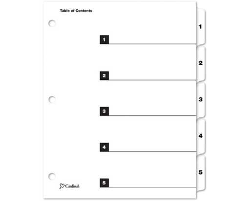 Printable Table of Contents Dividers (5 Tab) White