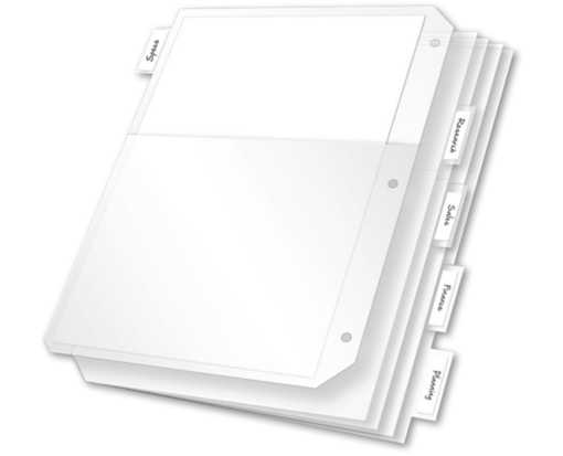 Poly Ring Binder Pockets (5 Insertable Tabs) Clear
