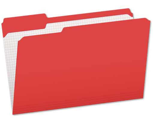 Pendaflex Letter Size (1/3 Cut) File Folders w/Interior Grid(Pack of 100) Red