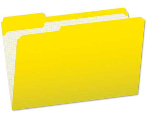Pendaflex Letter Size (1/3 Cut) File Folders w/Interior Grid(Pack of 100) Yellow