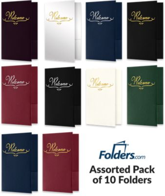 "Welcome Folders in are small presentation folders with a standard two pocket design and measure 5 3/4"" x 8 3/4"" and are constructed the same way as larger folders, only smaller. This pack of 10 assorted folder colors feature either a gold or silver foil stamped design on the front cover of each folder which reads, ""Welcome"". Churches, Organizations, Educational Institutions and Charities use Small Presentation Folders for holding 5 1/2"" x 8 1/2"" or smaller pamphlets, stepped inserts and more. The two interior pockets measure 3"" in height and the right pocket features card slits to securely hold and display standard size business cards (3 1/2"" x 2""). This folder is created from thick, durable 100lb. cover stock in our classic colors such as Dark Blue Linen, Burgundy Linen, Deep Black Linen, Deep Black Linen, Natural Ivory Linen, White Gloss and more. The square corners of this small size presentation folder were expertly die-cut for a clean, professional look."