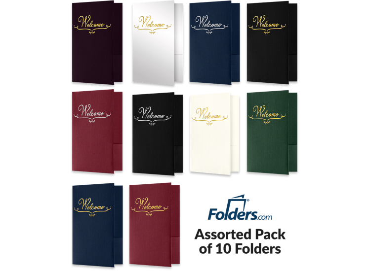 Welcome Folders - Standard Two Pockets - Assorted Pack of 10 Assorted