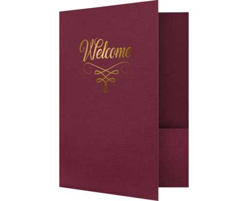 9 x 12 Welcome Folders w/ Gold Foil Burgundy Linen - Gold Foil Flourish