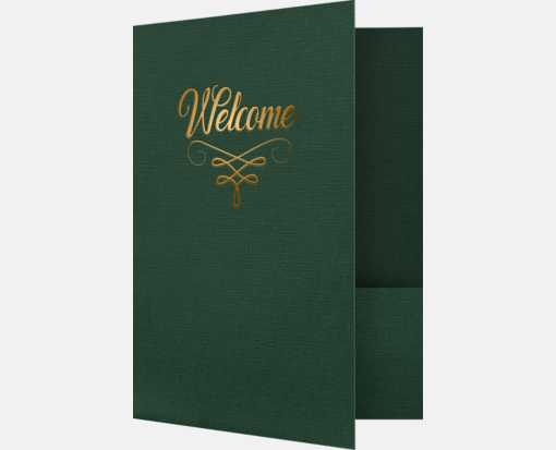 9 x 12 Welcome Folders w/ Gold Foil Green Linen - Gold Foil Flourish