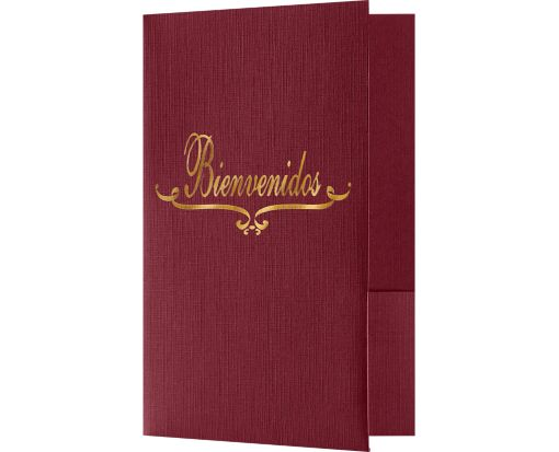 Bienvenidos Welcome Folders - Standard Two Pockets - Gold Foil Stamped Design Burgundy Linen