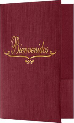 5 3/4 x 8 3/4 Bienvenidos Welcome Folders - Standard Two Pockets - Gold Foil Stamped Design Burgundy Linen
