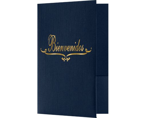 Bienvenidos Welcome Folders - Standard Two Pockets - Gold Foil Stamped Design Dark Blue Linen