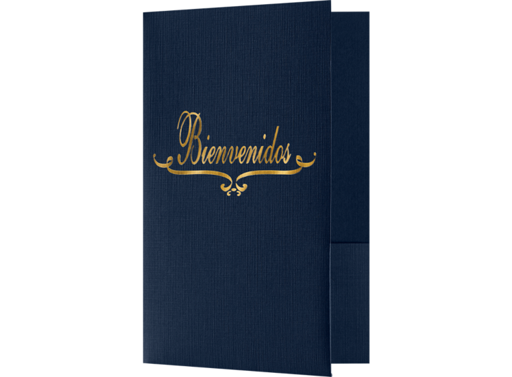 Bienvenidos Welcome Folders - Standard Two Pockets - Gold Foil Stamped Design Dark Blue Linen