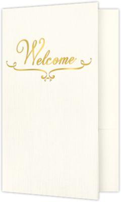 Welcome Folders - Standard Two Pockets - Gold Foil Stamped Design Natural Ivory Linen w/ Gold Foil