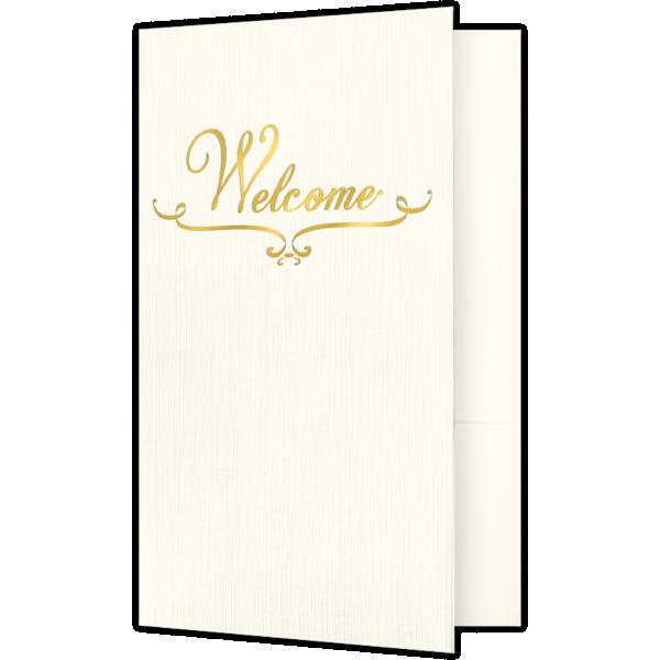 5 3/4 x 8 3/4 Welcome Folders - Standard Two Pockets - Gold Foil Stamped Design Natural Ivory Linen w/ Gold Foil