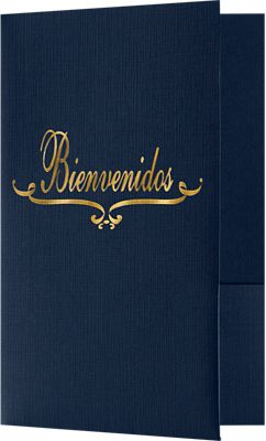 "Bienvenidos Welcome Folders in Dark Blue Linen are small presentation folders with a standard two pocket design and measure 5 3/4"" x 8 3/4"" and are constructed the same way as larger folders, only smaller. These folders feature a gold foil stamped design on the front cover which reads, ""Bienvenidos"". Bienvenidos is Spanish for, Welcome. Churches, Organizations, Educational Institutions and Charities use Small Presentation Folders for holding 5 1/2"" x 8 1/2"" or smaller pamphlets, stepped inserts and more. The two interior pockets measure 3"" in height and the right pocket features card slits to securely hold and display standard size business cards (3 1/2"" x 2""). This folder is created from thick, durable 100lb. cover stock in a classic, dark blue color with a high-quality linen texture. The square corners of this small size presentation folder were expertly die-cut for a clean, professional look."