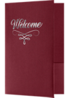 6 x 9 Welcome Folders - Silver Foil Stamped Burgundy Linen - Silver Foil Flourish