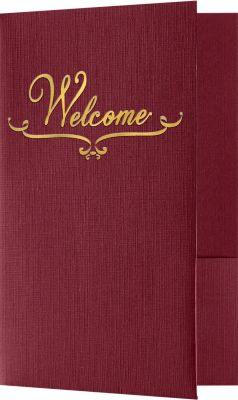 "Welcome Folders in Burgundy Linen are small presentation folders with a standard two pocket design and measure 5 3/4"" x 8 3/4"" and are constructed the same way as larger folders, only smaller. These folders feature a gold foil stamped design on the front cover which reads, ""Welcome"". Churches, Organizations, Educational Institutions and Charities use Small Presentation Folders for holding 5 1/2"" x 8 1/2"" or smaller pamphlets, stepped inserts and more. The two interior pockets measure 3"" in height and the right pocket features card slits to securely hold and display standard size business cards (3 1/2"" x 2""). This folder is created from thick, durable 100lb. cover stock in a classic, dark red color with a high-quality linen texture. The square corners of this small size presentation folder were expertly die-cut for a clean, professional look."