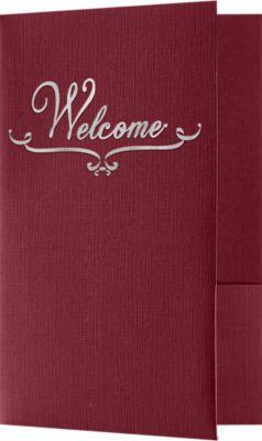 Welcome Folders - Standard Two Pockets - Silver Foil Stamped Design Burgundy Linen w/ Silver Foil