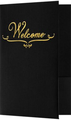 5 3/4 x 8 3/4 Welcome Folders - Standard Two Pockets - Gold Foil Stamped Design Deep Black Linen w/ Gold Foil