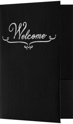 5 3/4 x 8 3/4 Welcome Folders - Standard Two Pockets - Silver Foil Stamped Design Deep Black Linen w/ Silver Foil