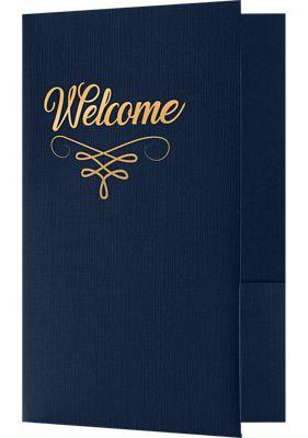 5 3/4 x 8 3/4 Welcome Folders - Standard Two Pockets - Gold Foil Stamped Design Dark Blue Linen - Gold Foil Flourish