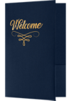 6 x 9 Welcome Folders - Gold Foil Stamped Dark Blue Linen - Gold Foil Flourish