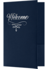 6 x 9 Welcome Folders - Silver Foil Stamped Dark Blue Linen - Silver Foil Flourish