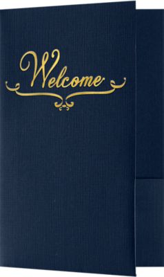 "Welcome Folders in Dark Blue Linen are small presentation folders with a standard two pocket design and measure 5 3/4"" x 8 3/4"" and are constructed the same way as larger folders, only smaller. These folders feature a gold foil stamped design on the front cover which reads, ""Welcome"". Churches, Organizations, Educational Institutions and Charities use Small Presentation Folders for holding 5 1/2"" x 8 1/2"" or smaller pamphlets, stepped inserts and more. The two interior pockets measure 3"" in height and the right pocket features card slits to securely hold and display standard size business cards (3 1/2"" x 2""). This folder is created from thick, durable 100lb. cover stock in a classic, deep blue color with a high-quality linen texture. The square corners of this small size presentation folder were expertly die-cut for a clean, professional look."