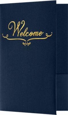 5 3/4 x 8 3/4 Welcome Folders - Standard Two Pockets - Gold Foil Stamped Design Dark Blue Linen w/ Gold Foil