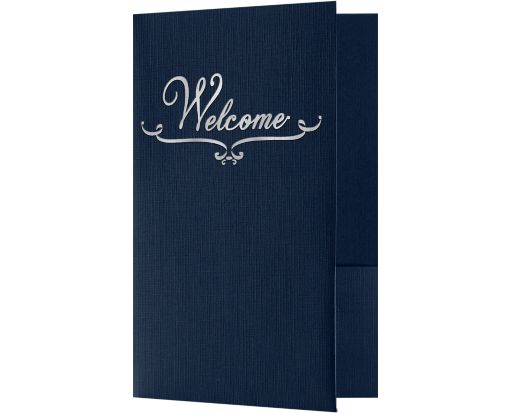 Welcome Folders - Standard Two Pockets - Silver Foil Stamped Design Dark Blue Linen w/ Silver Foil