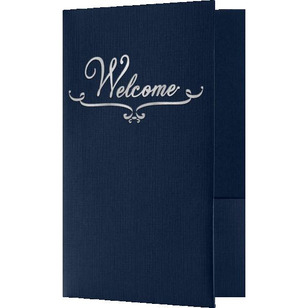 Welcome Folders - Standard Two Pockets - Silver Foil Stamped Design Dark Blue Linen w/ Silver Foil