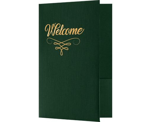 Welcome Folders - Standard Two Pockets - Gold Foil Stamped Design Green Linen w/ Gold Foil