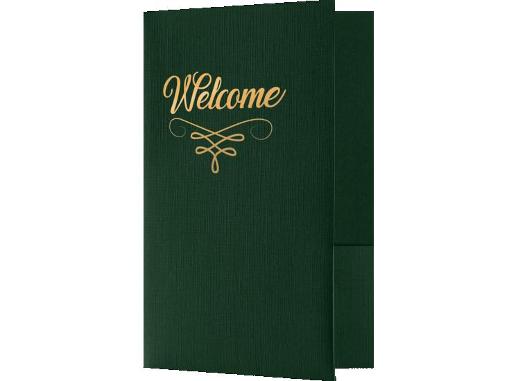 Welcome Folders - Standard Two Pockets - Gold Foil Stamped Design Green Linen w/ Gold Foil