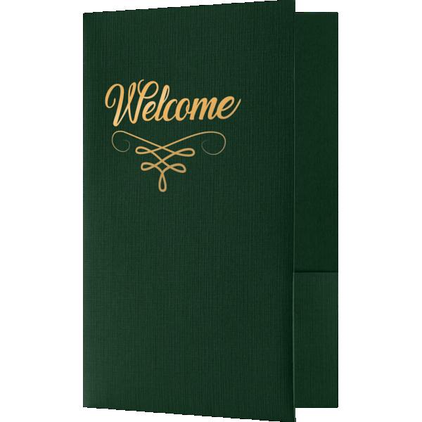 5 3/4 x 8 3/4 Welcome Folders - Standard Two Pockets - Gold Foil Stamped Design Green Linen w/ Gold Foil