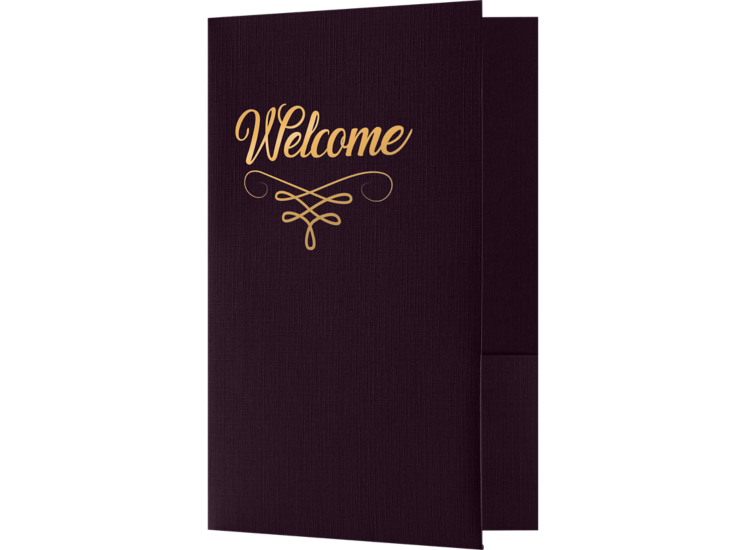 Welcome Folders - Standard Two Pockets - Gold Foil Stamped Design Dark Purple Linen w/ Gold Foil