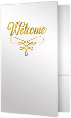 5 3/4 x 8 3/4 Welcome Folders - Standard Two Pockets - Gold Foil Stamped Design Bright White Gloss w/ Gold Foil