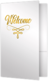 6 x 9 Welcome Folders - Gold Foil Stamped Bright White Gloss w/ Gold Foil
