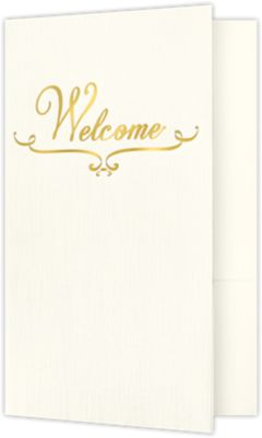 "Welcome Folders in Dark Blue Linen are small presentation folders with a standard two pocket design and measure 5 3/4"" x 8 3/4"" and are constructed the same way as larger folders, only smaller. These folders feature a gold foil stamped design on the front cover which reads, ""Welcome"". Churches, Organizations, Educational Institutions and Charities use Small Presentation Folders for holding 5 1/2"" x 8 1/2"" or smaller pamphlets, stepped inserts and more. The two interior pockets measure 3"" in height and the right pocket features card slits to securely hold and display standard size business cards (3 1/2"" x 2""). This folder is created from thick, durable 100lb. cover stock in a classic, dark blue color with a high-quality linen texture. The square corners of this small size presentation folder were expertly die-cut for a clean, professional look."