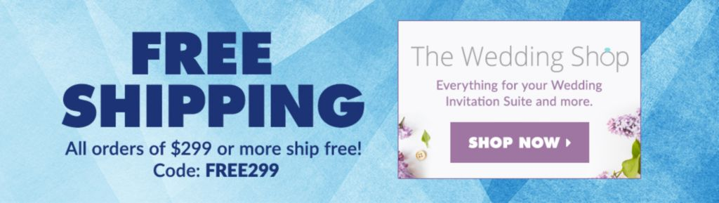 Envelopes.com Free Shipping/Wedding Shop Banner