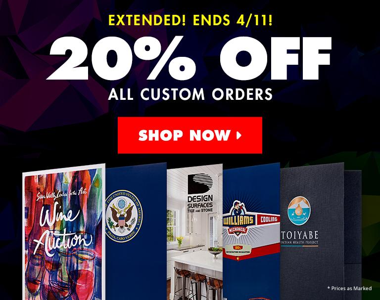 20% Off All Custom 9 x 12 Folders